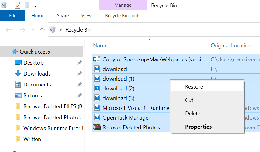 Restore Files from Recycle Bin