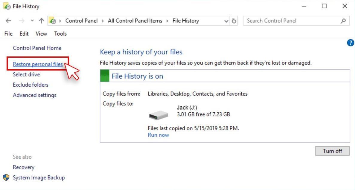 Restore Personal Files Screen