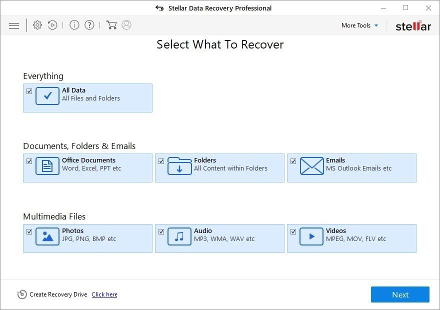Select What to Recover Screen